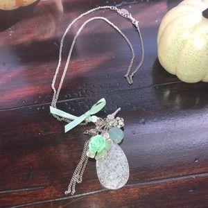 Mint green & silver charmed long necklace